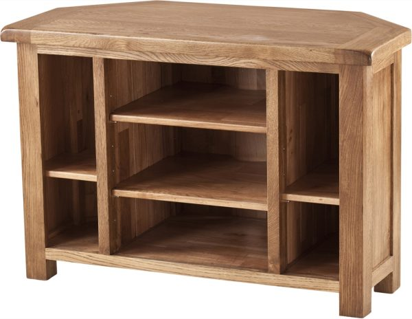 Country Rustic Oak Corner TV Cabinet with Shelves | Fully Assembled