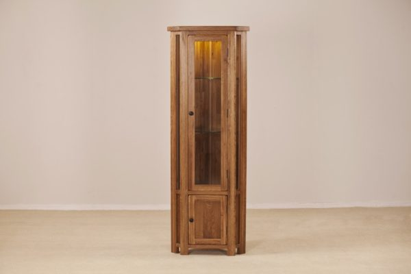 Country Rustic Oak Corner Display Cabinet & Light | Fully Assembled