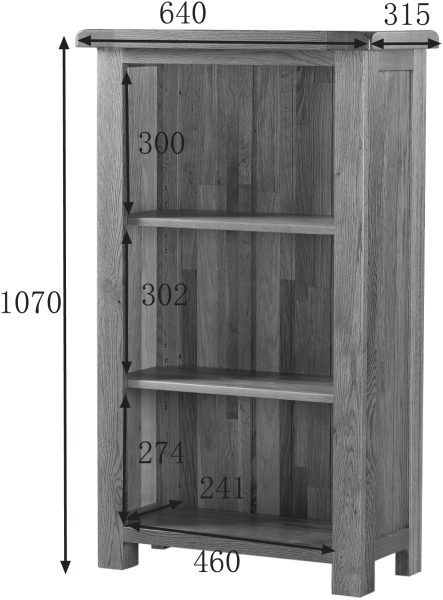 Country Rustic Oak 3′ Narrow Bookcase with 2 Shelves | Fully Assembled