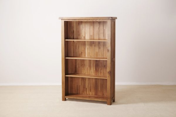 Country Rustic Oak 5′ Wide Bookcase with 3 Adjustable Shelves | Fully Assembled