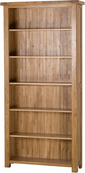 Country Rustic Oak 6′ Wide Bookcase with 5 Adjustable Shelves | Fully Assembled