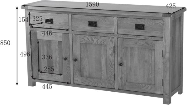Country Rustic Large Sideboard | Fully Assembled