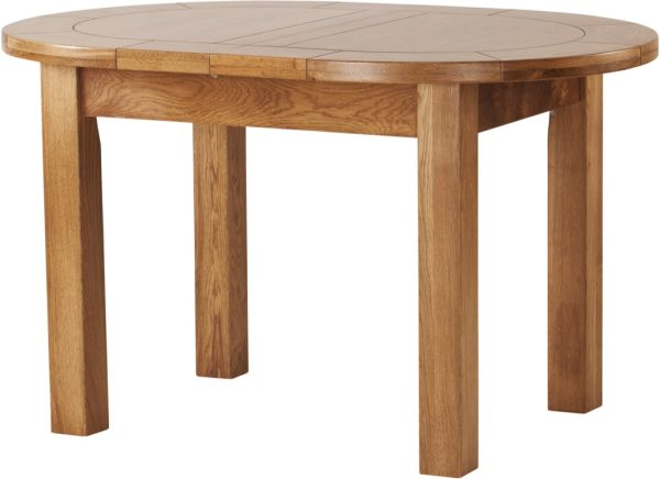 Country Rustic Oak Small D End Extending Dining Table