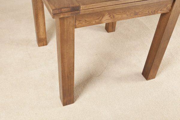 Country Rustic Oak 3×3 Flip Top Extending Dining Table