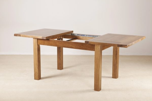 Country Rustic Oak 4'6 Extending Dining Table 2 Leaf