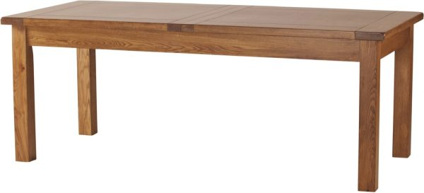 Country Rustic Oak 6'8 Extending Dining Table 2 Leaf