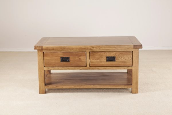 Country Rustic Oak Coffee Table with 2 Drawers and Shelf | Fully Assembled
