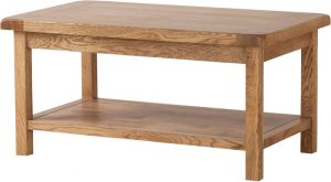 Country Rustic Oak Coffee Table with Shelf | Fully Assembled