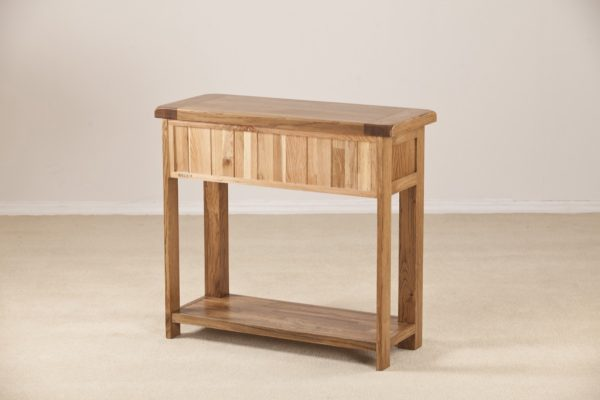Country Rustic Oak 2 Drawer Console Table with Shelf | Fully Assembled