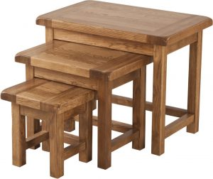 Country Rustic Oak Small Nest of 3 Tables | Fully Assembled