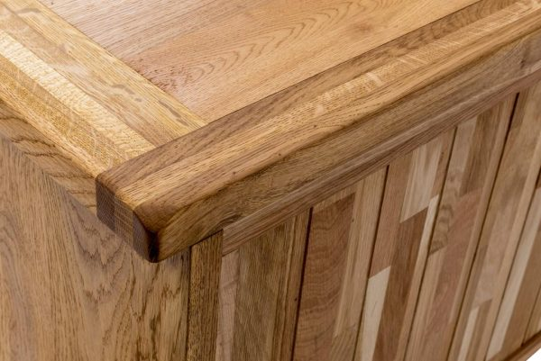 Suffolk Oak Large TV Cabinet with Drawers | Fully Assembled