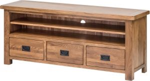 Country Rustic Oak Large TV Cabinet with Drawers| Fully Assembled