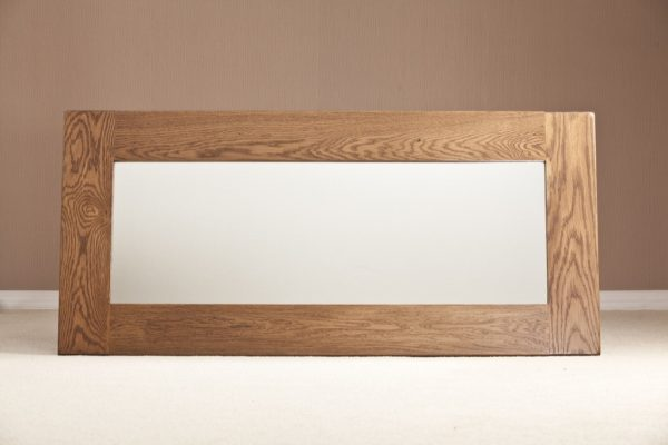 Country Rustic Oak Wall Mirror 1300×600   Fully Assembled