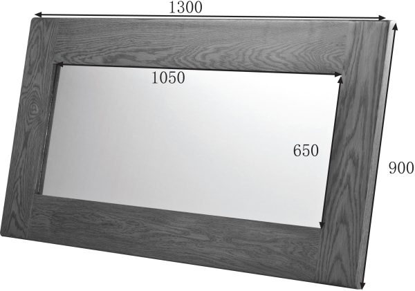 Country Rustic Oak Wall Mirror 1300×900   Fully Assembled