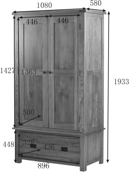 Country Rustic Oak Wardrobe with 1 Drawer